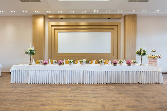Head table for the newlyweds at the wedding hall