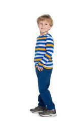 Profile portrait of a fashion cute little boy
