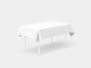 Bank white tablecloth mockup, clipping path, 3d rendering. Clear table cloth design mock up isolated. Fabric space satin on desk template. Kitchen table clean textile overlay. Setting cafe table.