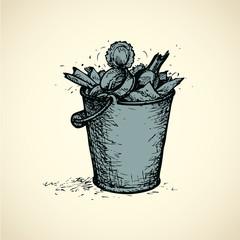 Vector trash bin full of garbage