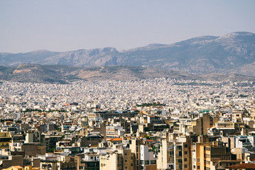 Rooftop view of Athens city from the Acropolis.