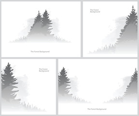 Vector set of images of the forest backgrounds. Wild coniferous forest in the morning mist. Vector backgrounds of gray coniferous trees on a white background. Foggy valley. Vector pine forest.
