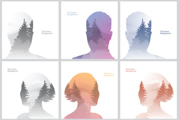 Vector set of double exposure illustrations. Men and women silhouettes plus forest background. Double exposure portraits of men and women on gray, brown and dark blue backgrounds of coniferous forest.