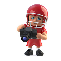 3d American football player holding a camera