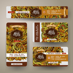 Corporate Identity set with doodles hand drawn Africa theme