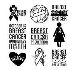 Breast cancer logos and ribbons