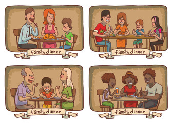 Vector set of frames with cartoon images of family dinners, various members of different families sitting at the tables and eating food on a white background. Family idyll. Card. Vector illustration.