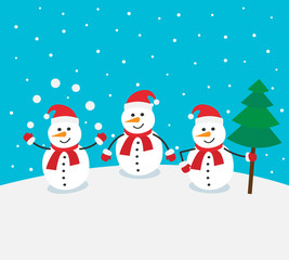 snowman on winter background with snowballs and christmas tree