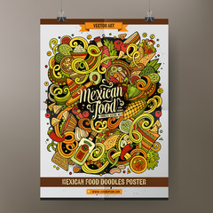 Cartoon hand drawn doodles Mexican food poster template