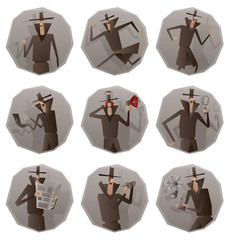 Vector set of round gray frames with cartoon images of a spies in black coats, hats and sunglasses performing different actions with different attributes in the hands on a white background. Espionage.