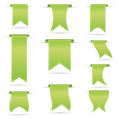 green hanging curved ribbon banners set eps10