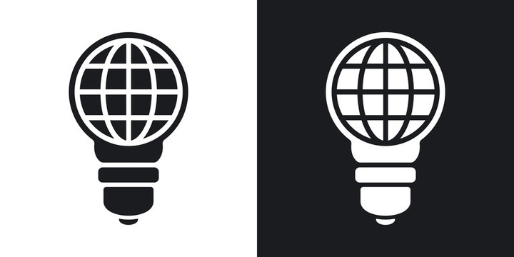 Vector light bulb with globe. Two-tone version on black and white background