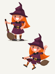 Little cute witch is standing with broom and flying on a broom.