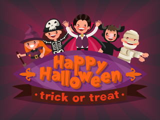 Happy Halloween. Trick or Treat. Invitation to a children's part