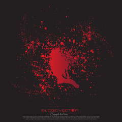 Abstract Blood splatter isolated on Black background, vector des