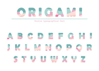 Modern origami festive font in pastel colors isolated on white. Creative ABC letters can be used for magazine, brochure, headline, shop, present.