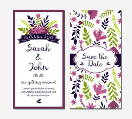 Wedding invitation with flowers and leaves. Vector illustration can be used for appreciation or greeting cards. Seamless pattern in the swatches.