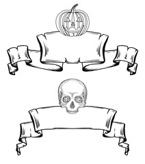 Set contour of old scrolls with lamp Jack and the skull. Decorations for Halloween. Vector elements for your design