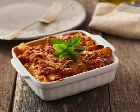 Baked Pasta with ragù and mushrooms
