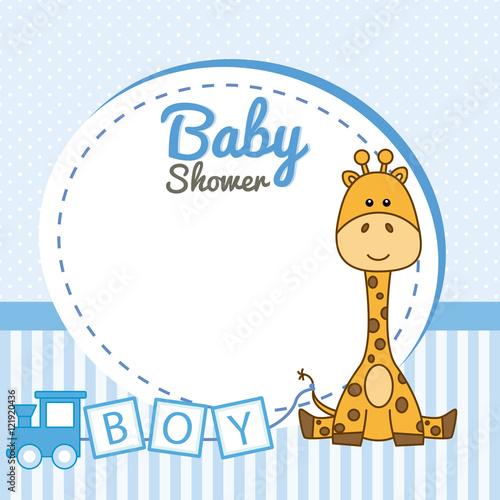 Baby Shower Boy Frame Baby Giraffe Stock Image And Royalty Free