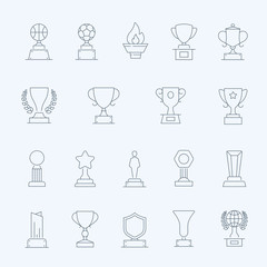 Badge Awards vector thin outline stroke icons set