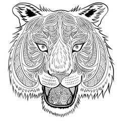 Tiger head hand-drawn doodle style. It can be used for adult coloring book.