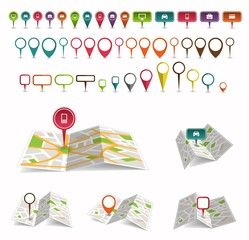 Maps with a pin isolated on white. Location icons. Vector illustration.