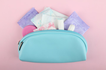 Hygiene feminine pads, tampon menstruation in the beautician
