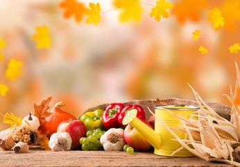 Autumn still life with pumpkins and autumn flower on nature background, Garden in autumn concept