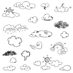 cloud doodle collection of hand drawn vector in black line on a white background