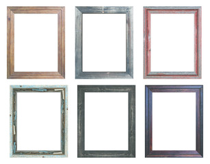 Old wooden frame with isolated background