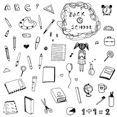 Freehand drawing doodle back to school vector set