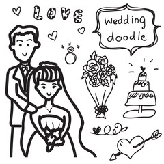 wedding doodle free hand drawing vector