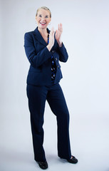 Business Woman Smiling Clapping Hands