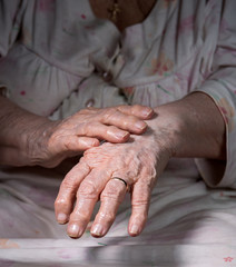 Old wrinkled woman's hands