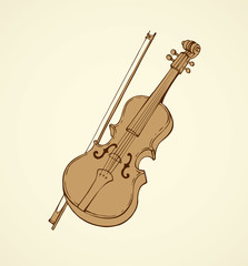 Vector line drawing of a violin and bow