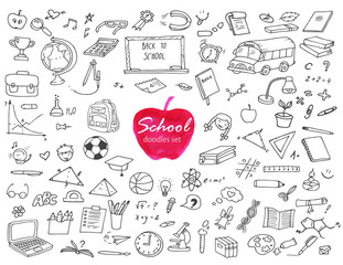 Hand-drawn doodles school set with different school objects. Line art illustration with study equipment, school bus, marks, drawings, computer, globe, books etc.