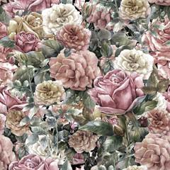 Akwarela malarstwo kwiatów, róża, wzór - 121928600