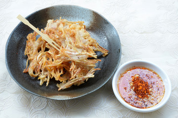 Fried taro chips and sauce, appetizer