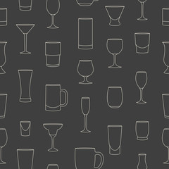 Seamless pattern made of linear drinkware on grey background