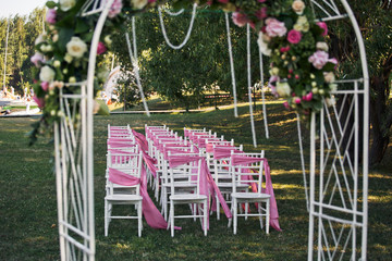 The chairs for wedding ceremony
