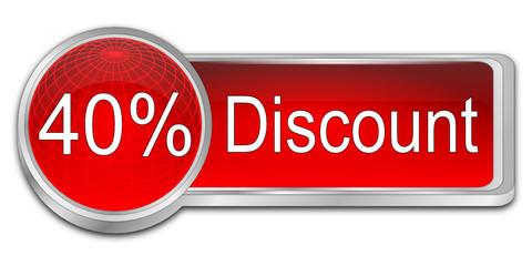 40% Discount button - 3D illustration