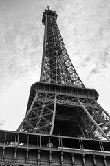 Black and white tour eiffel tower Paris