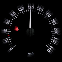 Speedometer dial with needle showing high speed, seat belt icon and motion blur effect isolated on black background