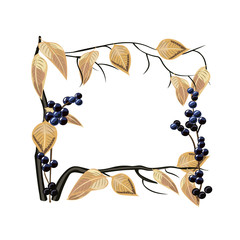 Beautiful frame with yellow birch leaves