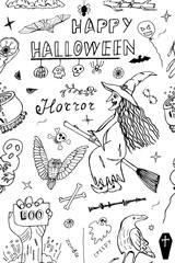 Happy Halloween Hand Drawn Vector Pattern. Detailed Freehand Holiday seamless background with Horror Sketch elements.
