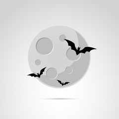 Moon vector icon on white background.