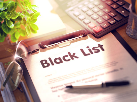 Clipboard with Black List. 3D.