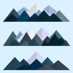 Mountains low poly style set. Polygonal mountain ridges. Vector illustration EPS10
