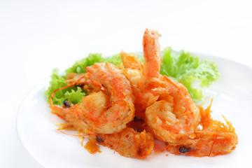Prawn fried with tempura flour.